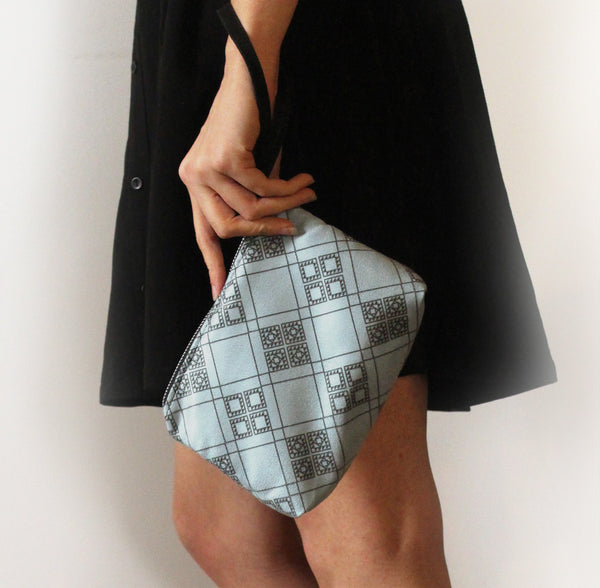 CHICAGO mini, small blue clutch bag with pattern. - Petrushka Studio - 5