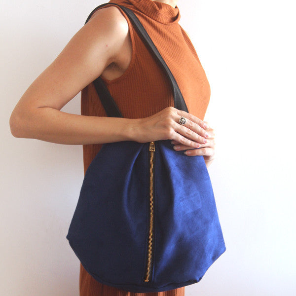 ROME tote, blue tote bag with zipper for everyday use. Vegan bag by Petrushka studio