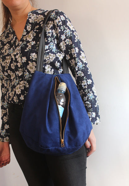 ROME tote, blue tote bag with zipper for everyday. Vegan tote bag by Petrushka studio