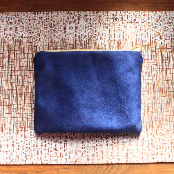 Small blue pouch bag - faux suede pouch by Petrushka studio