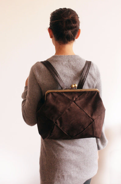 BERLIN backpack in brown, a chic backpack for women whit oversized snap clasp - Petrushka Studio - 4