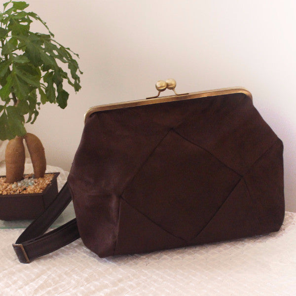 BERLIN backpack in brown, a chic backpack for women whit oversized snap clasp - Petrushka Studio - 1