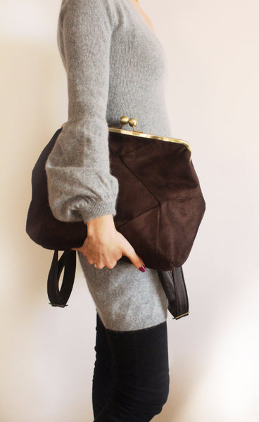 BERLIN backpack in brown, a chic backpack for women whit oversized snap clasp - Petrushka Studio - 2