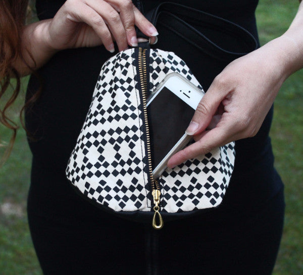 NEW YORK evening clutch in black and white squares pattern - Petrushka Studio - 5