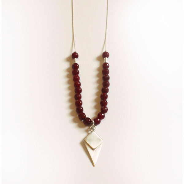 Silver lozenge-shaped necklace with a red beads - Petrushka Studio - 1