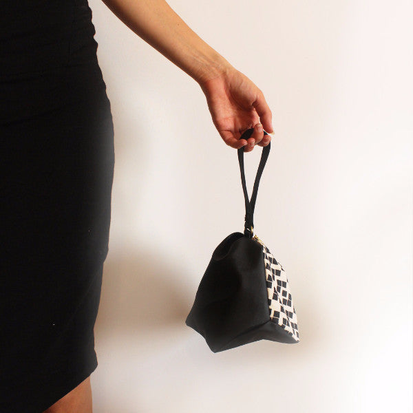 NEW YORK evening clutch in black and white big squares pattern - Petrushka Studio - 3