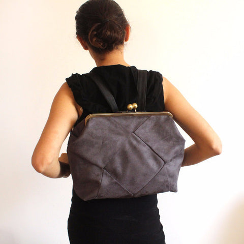 BERLIN backpack in gray, a Chic gray backpack for women - Petrushka Studio - 1