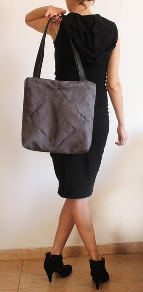 Elegant gray tote bag with zipper for your everyday - Petrushka Studio - 2