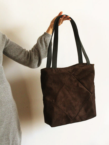 Brown faux suede tote with zipper for your everyday - Petrushka Studio - 2