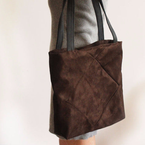 Brown faux suede tote with zipper for your everyday - Petrushka Studio - 1