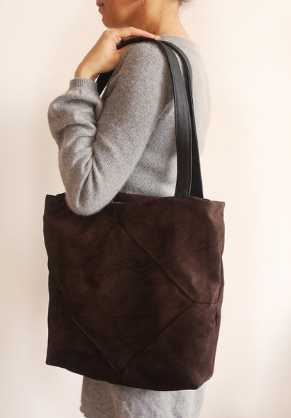 Brown faux suede tote with zipper for your everyday - Petrushka Studio - 3