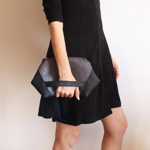 PARIS Clutch, modern gray and black evening bag - Petrushka Studio - 1