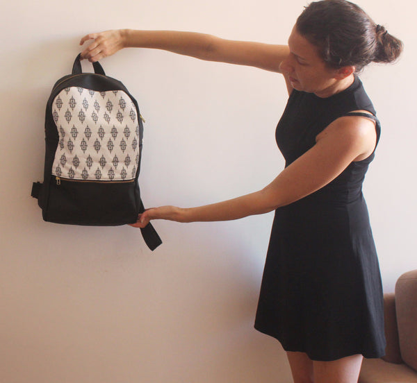 LARGE MILAN backpack, black and white women's backpack with ethnic print. - Petrushka Studio - 2