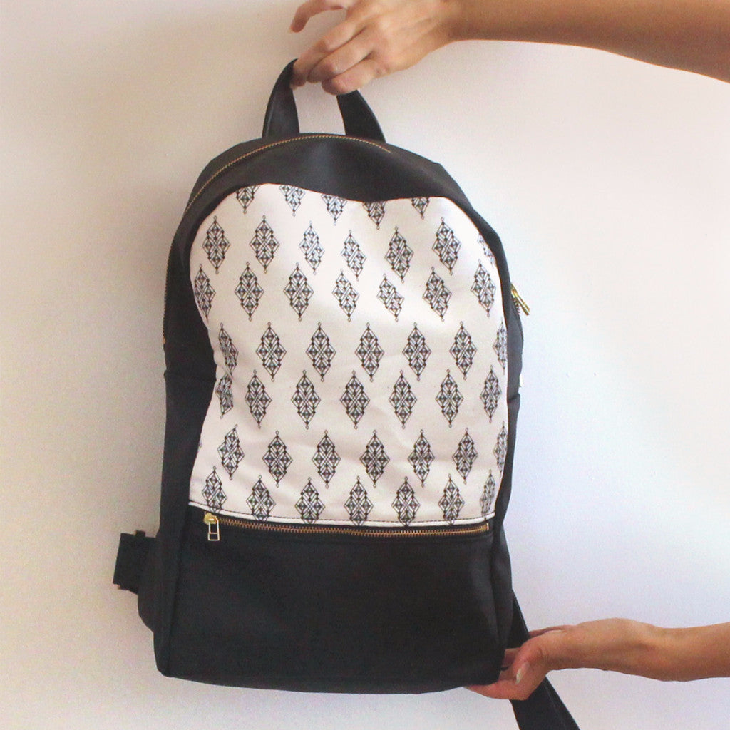 LARGE MILAN backpack, black and white women's backpack with ethnic print. - Petrushka Studio - 1