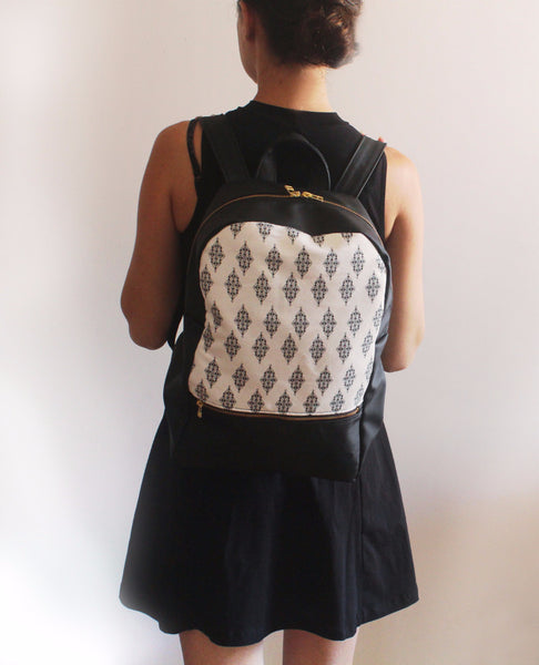 LARGE MILAN backpack, black and white women's backpack with ethnic print. - Petrushka Studio - 4