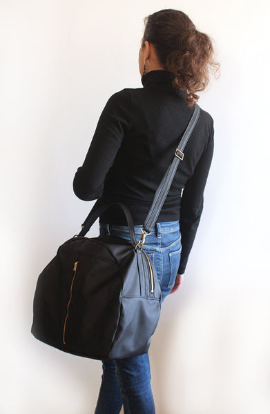 LARGE TOULOUSE BAG, Black weekender bag. Vegan bag by Petrushka studio