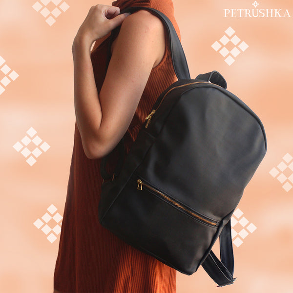 MILAN, black backpack - Vegan leather backpack.