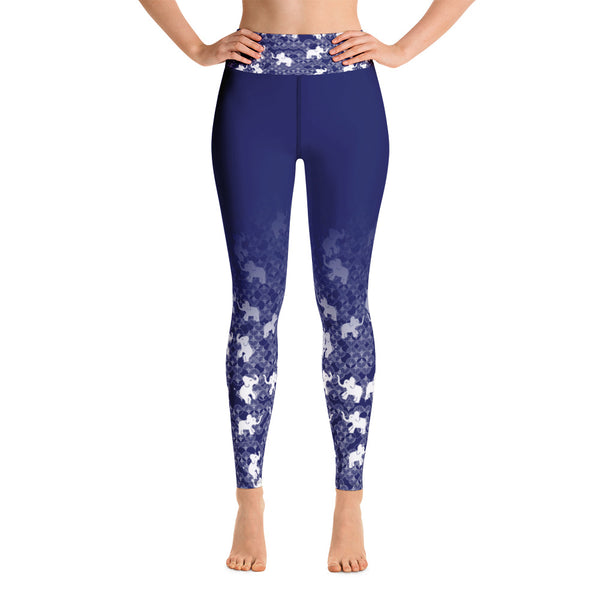 Elephants print Yoga Leggings - Blue
