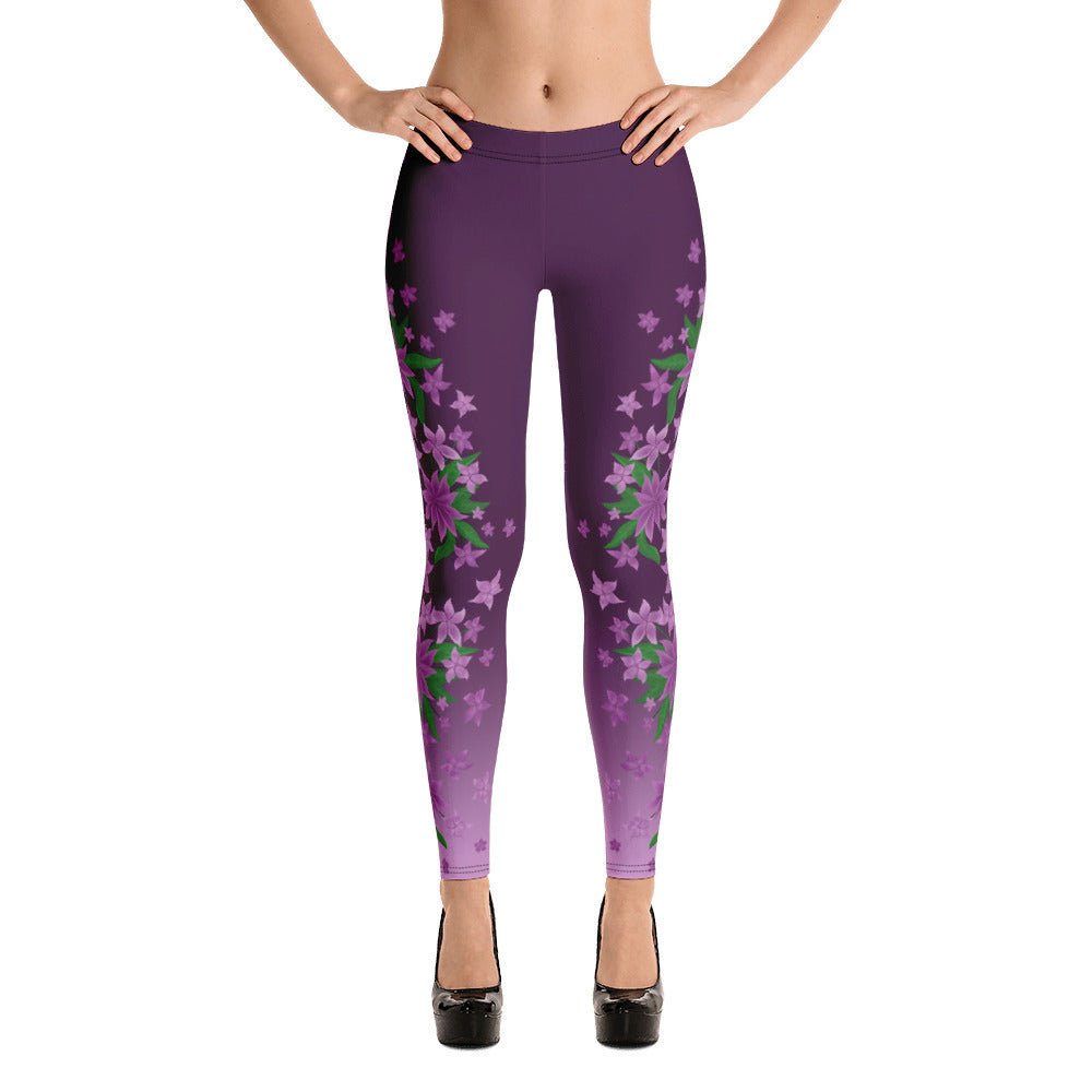 Purple Floral Leggings by Petrushka studio