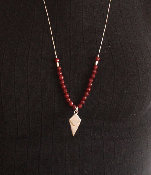 Silver lozenge-shaped necklace with a red beads - Petrushka Studio - 3