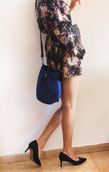 VENICE BUCKET BAG, Blue Crossbody Bag