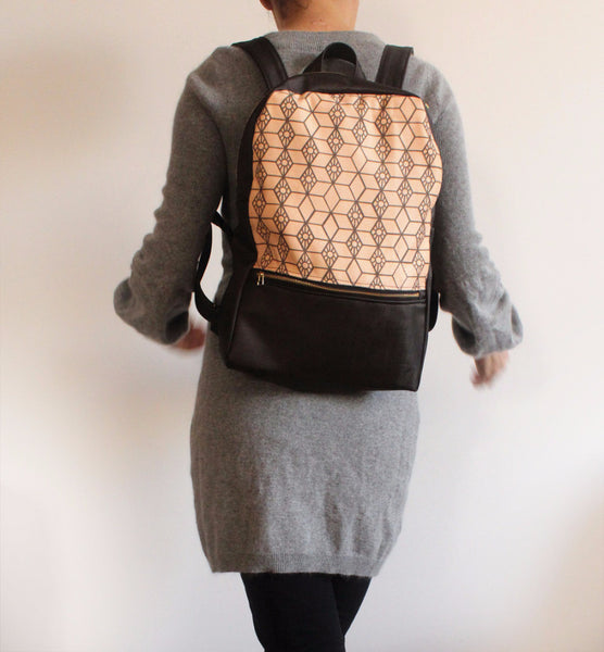 MILAN backpack, brown and pink women's backpack with ethnic print. - Petrushka Studio - 2
