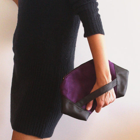 PARIS CLUTCH, modern purple and brown clutch bag