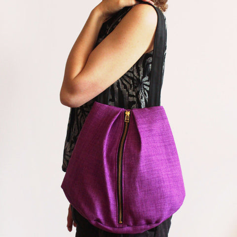 ROME tote, purple tote bag with zipper for everyday use - Petrushka Studio - 1