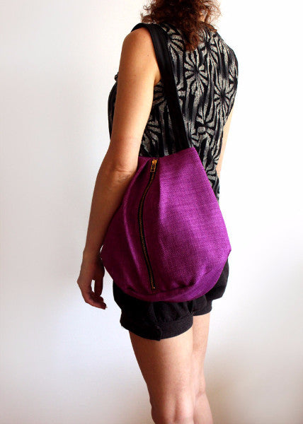 ROME tote, purple tote bag with zipper for everyday use - Petrushka Studio - 2