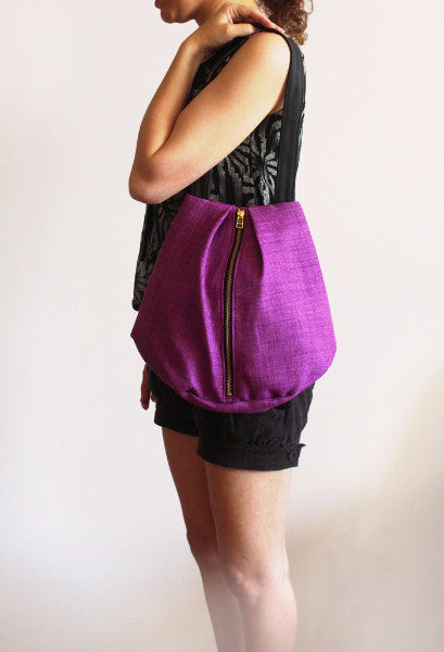 ROME tote, purple tote bag with zipper for everyday use - Petrushka Studio - 3