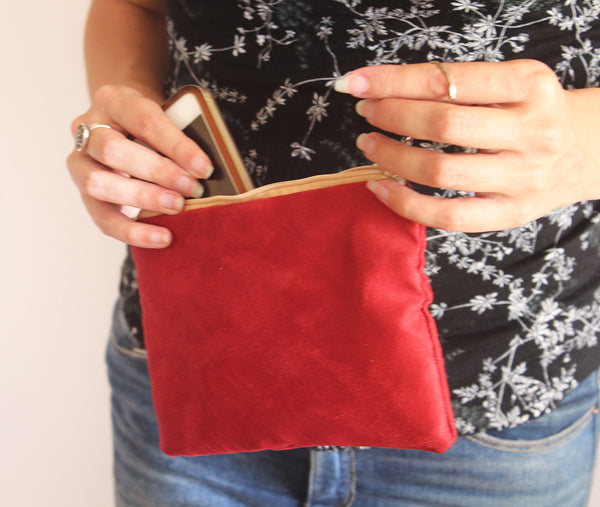 Small red pouch bag - faux suede pouch bag by Petrushka studio