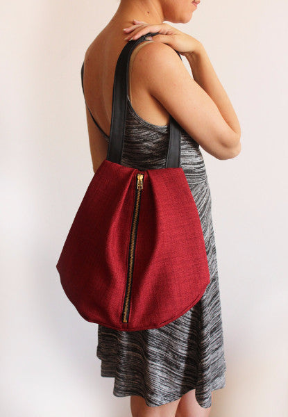 ROME tote, red shoulder bag with zipper for your everyday - Petrushka Studio - 3