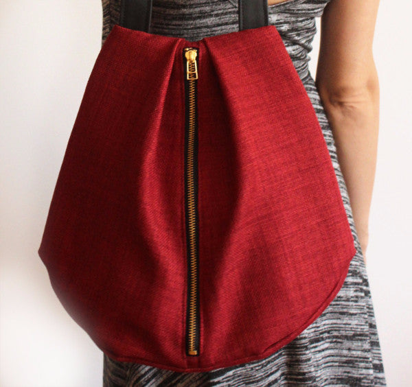 ROME tote, red shoulder bag with zipper for your everyday - Petrushka Studio - 4
