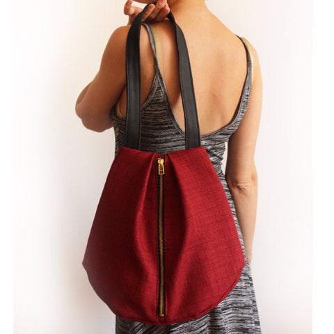 ROME tote, red shoulder bag with zipper for your everyday - Petrushka Studio - 1