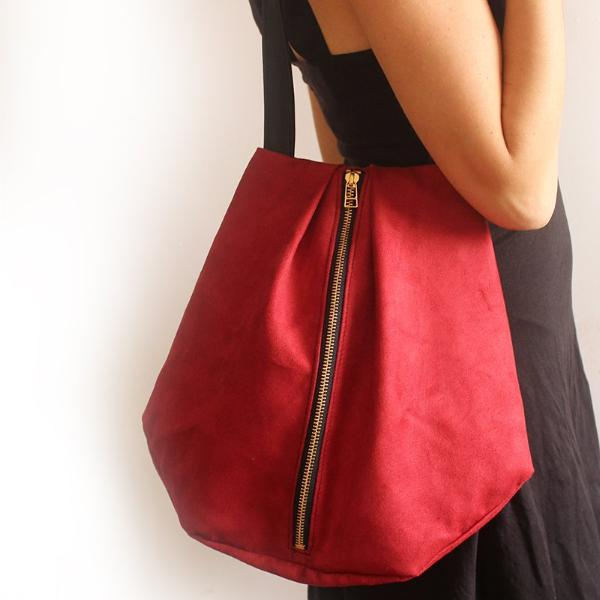 ROME tote, red tote bag with zipper for your everyday - Vegan bag by Petrushka studio