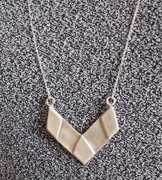 Silver necklace  V shape - Petrushka Studio - 4