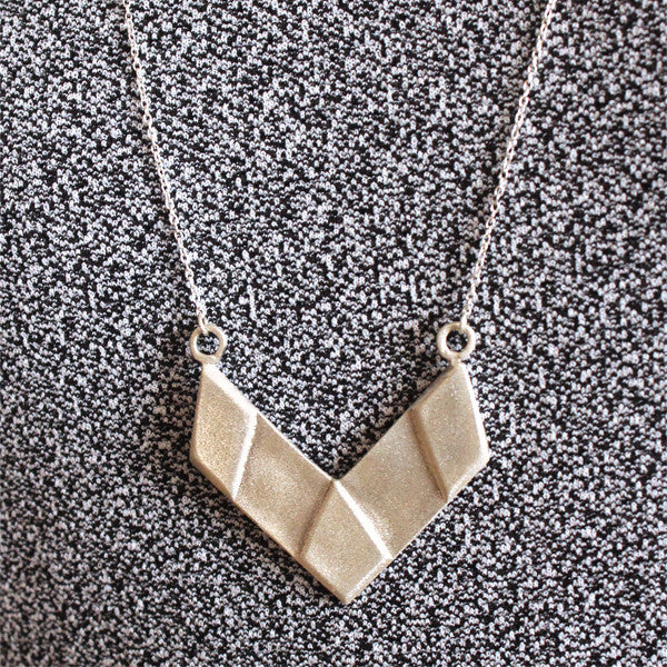 Silver necklace  V shape - Petrushka Studio - 1