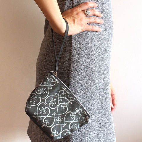 MINI CLUTCH BAG , small black and white clutch bag with pattern, by Petrushka studio