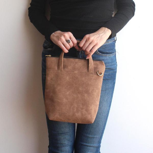 VALENCIA crossbody bag, in camel brown vegan leather. Eco friendly bag by Petrushka studio