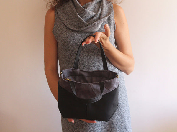 Small Crossbody bag and clutch bag, made of Faux suede - Petrushka Studio - 5