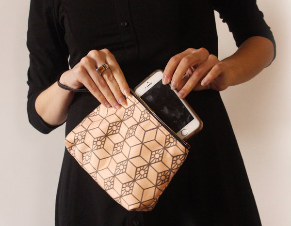 CHICAGO mini, small clutch bag with modern pattern. - Petrushka Studio - 2