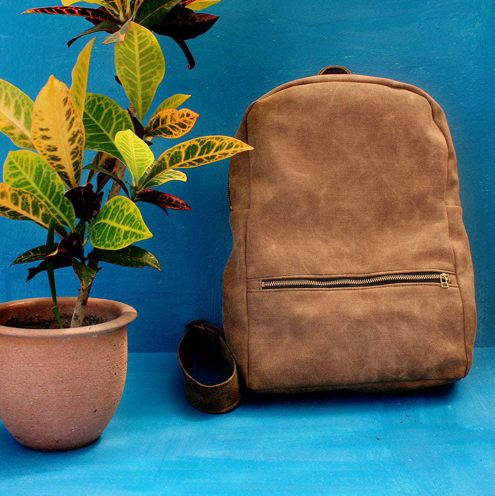 MILAN camel brown backpack - Vegan leather backpack