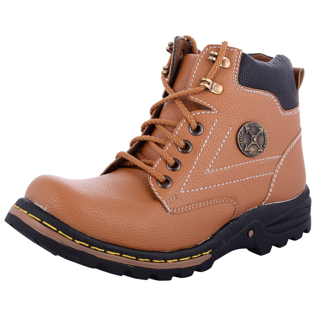 Zohran Men's Tan PU Boots 15AMY - PU Boot - Zohranglobal.com