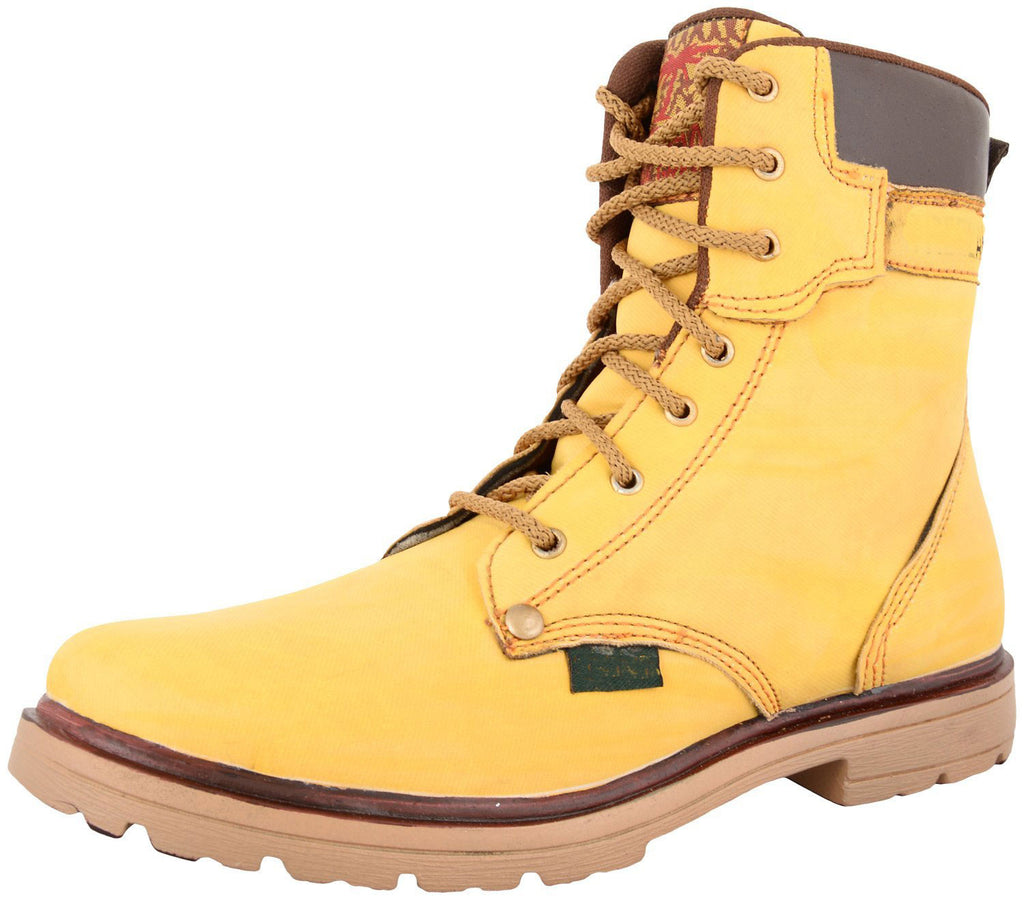 Zohran Men's Yellow PU Boots 405 - PU Boot - Zohranglobal.com