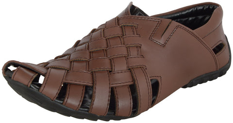 Zohran Men's Brown PU Sandal 659 - PU Sandals - Zohranglobal.com
