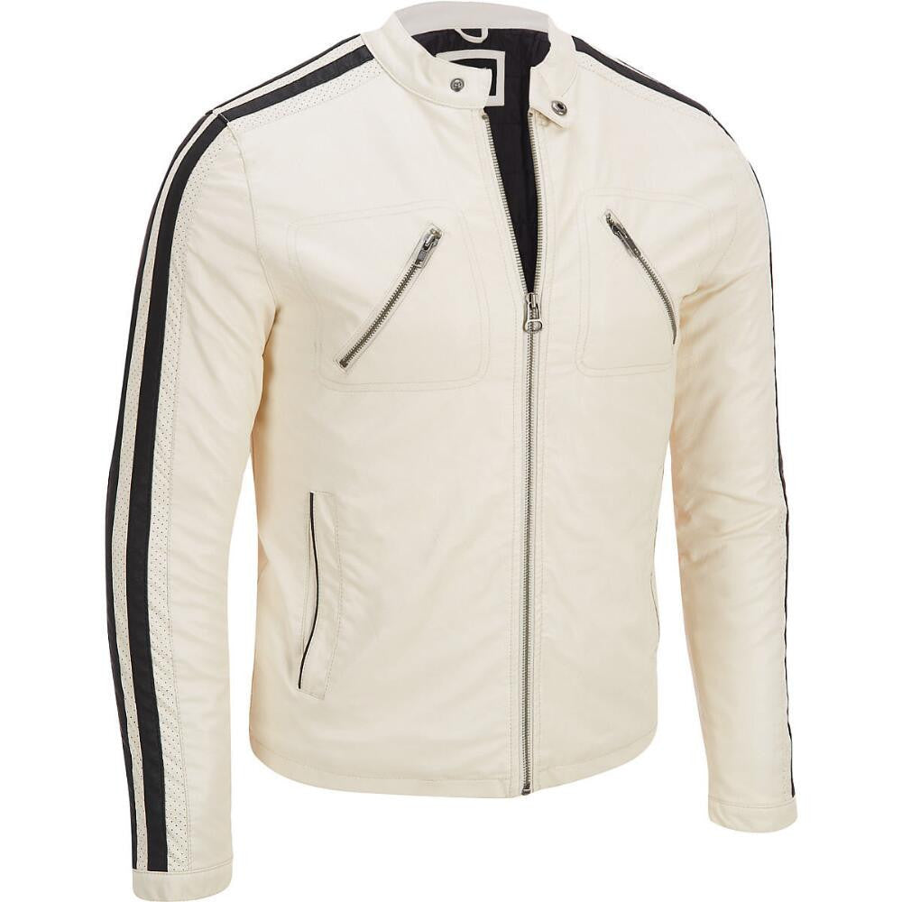 Men White Leather Jacket JKT-108 - Zohranglobal.com