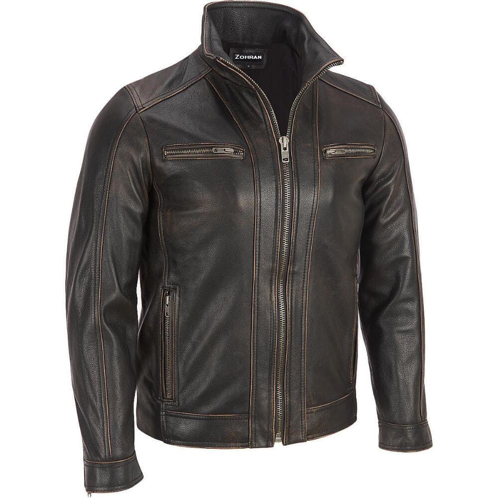 Men Brown Leather Jacket JKT-111 - Zohranglobal.com