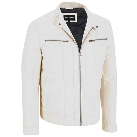 Men White Leather Jacket JKT-130 - Zohranglobal.com