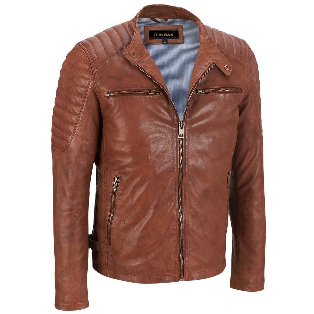 Men Tan Leather Jacket JKT-134 - Zohranglobal.com