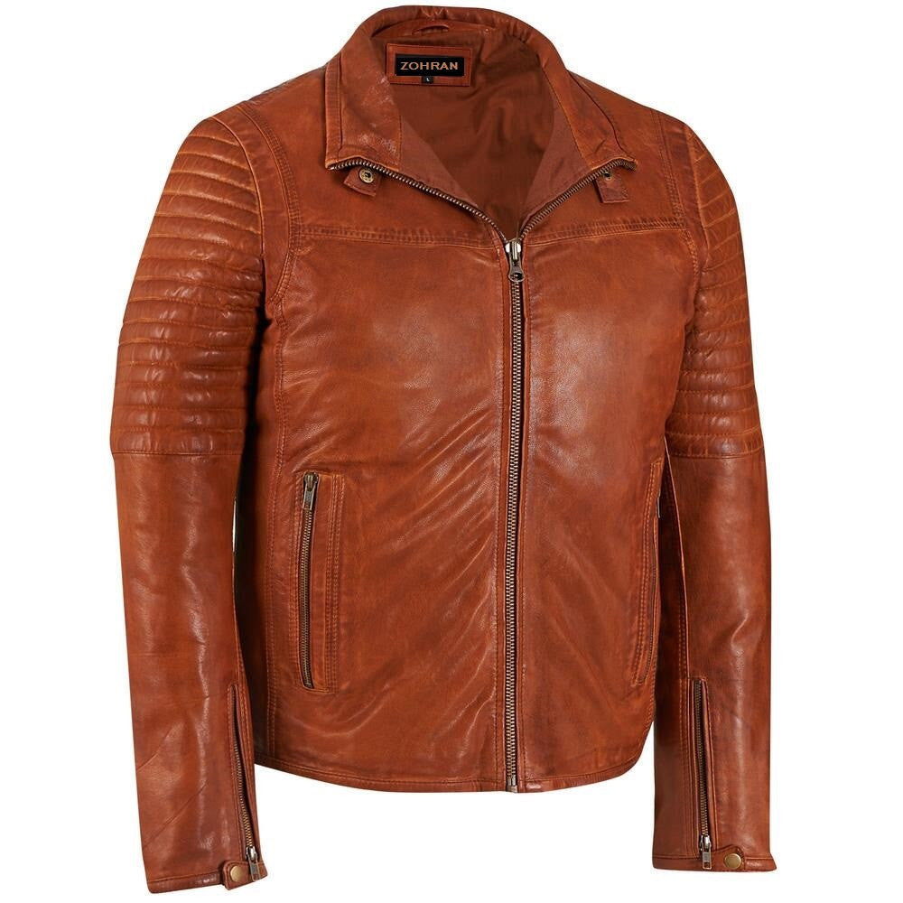 Men Tan Leather Jacket JKT-140 - Zohranglobal.com